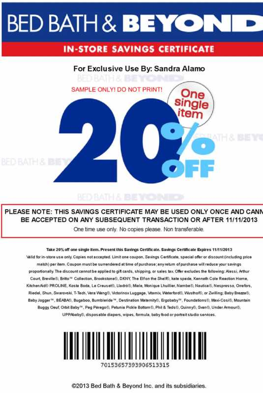 Bed Bath And Beyond Coupon  Dollars Off